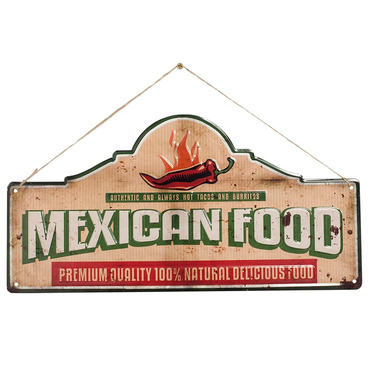 Mexican Food - Embossed Metal Sign - La Hacienda