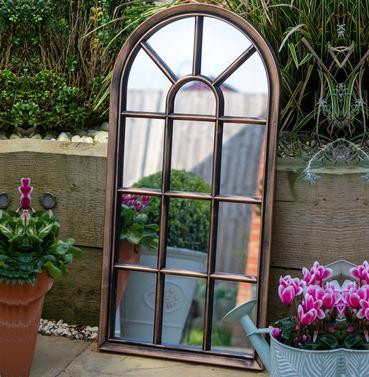 Modena Outdoor Garden Mirror - Brushed Copper