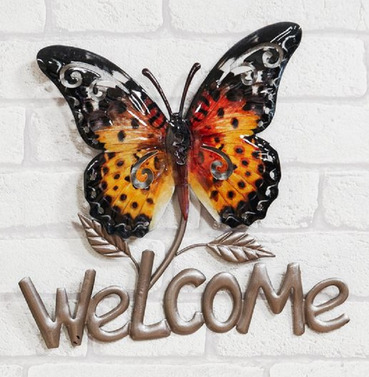 Orange Welcome Butterfly Metal Wall Art