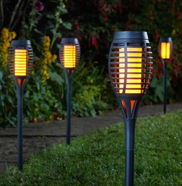 Party Solar Cool Flame Flaming Torch  - 5 Pack