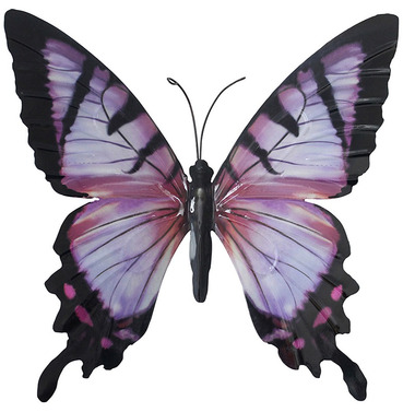 Large Metal Butterfly - Pink and Black