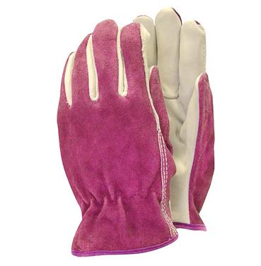 Premium Leather Parm Gardening Gloves - Pink - Medium