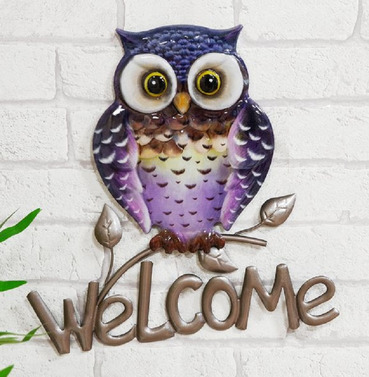 Purple Welcome Owl  Metal Wall Art