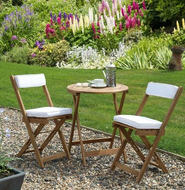 Raffles Bistro Set with Cushions - Natural