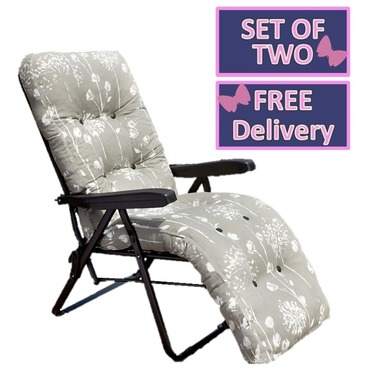Reclining Multi Position Lounger Chairs - Set of Two - Renaissance Grey