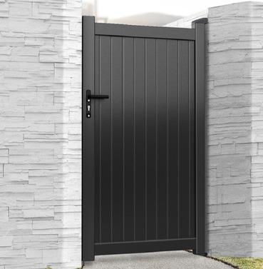 Aluminium Single Tall Pedestrian Gate - Black Finish - Different Size Options