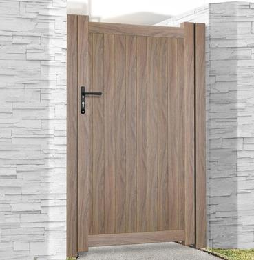 Aluminium Single Tall Pedestrian Gate - Wood Effect Finish - Different Size Options