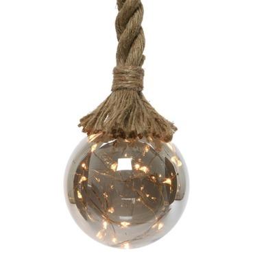 Christmas Light Ball on Rope - 80cm, 10 Dia - 15 LED Warm White Lights