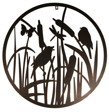 Birds on Bullrushes Wall Art - Cut Out See Through Design