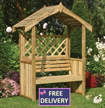 Salsibury Wooden Arbour - with Lattice Back