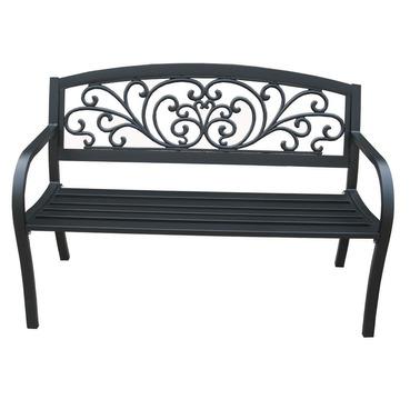 Garden Metal Bench Scrolled Design Back