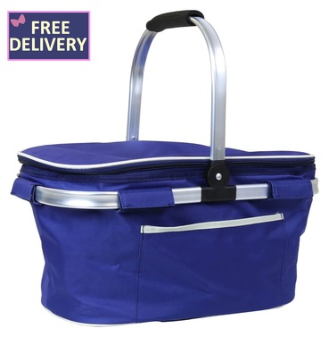 Blue Picnic 30L Insulated Cool Bag Hamper Basket - Colaspable