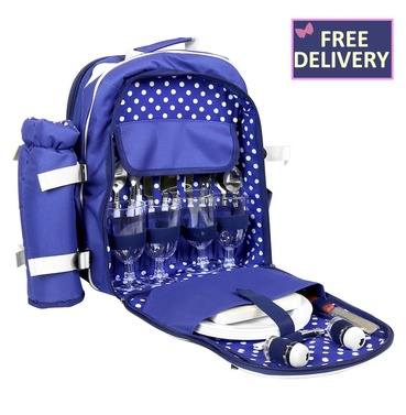 Blue 4 Person Picnic Bag Backpack with Cutlery & Blanket