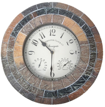"""Stonegate Mosaic Wall Clock, Thermometer and Humidity Gauge 14"""""""