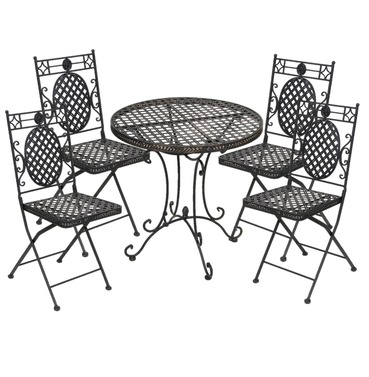 Cafe Four Seater Set - Black with Gold Wash - French Lattice Design