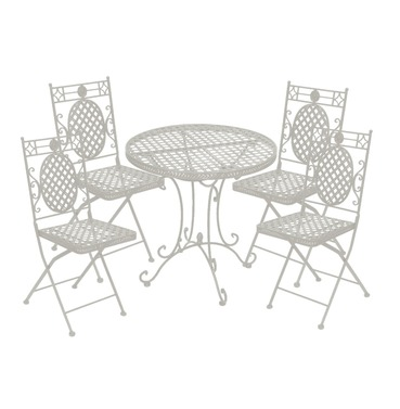 Cafe Four Seater Set - Distressed Cream - French Lattice Design