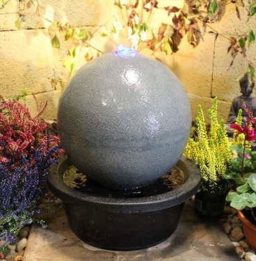 Slate Effect Sphere Ball Solar Power Water Feature - Different Size Options