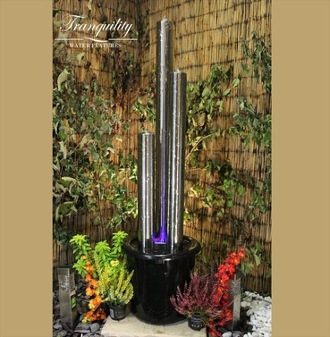 Stainless Steel 3 Tube Water Feature - Different Size Options