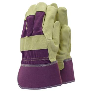 Washable Leather Rigger Gardening Gloves - Purple - Medium