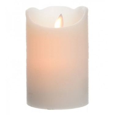 Christmas Medium 12.5cm Wax LED Light Battery Wave Flame Candle