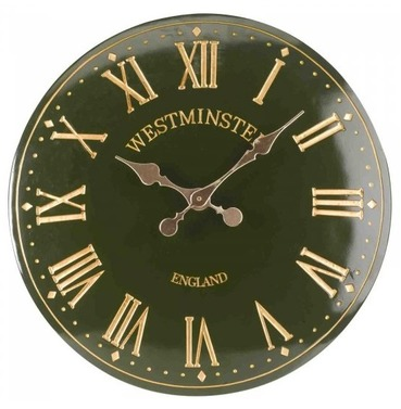 "Westminster Tower Garden Wall Clock - 15"" Dark Green"