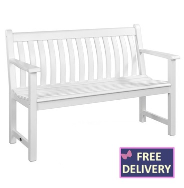 White Broadfield Wooden Bench - 4ft - 100% FSC Acacia Wood