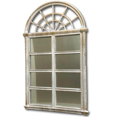 Outdoor Arched Top Garden Mirror White with Gold Wash