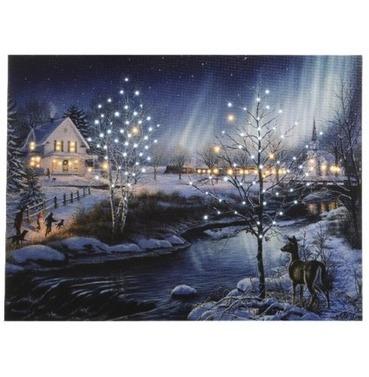 LED Fibre Optic Christmas Canvas Scene Winter River - 30 x 40cm