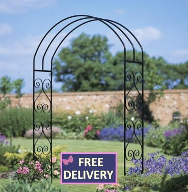 York Scrolled Wide Metal Rose Arch - Large