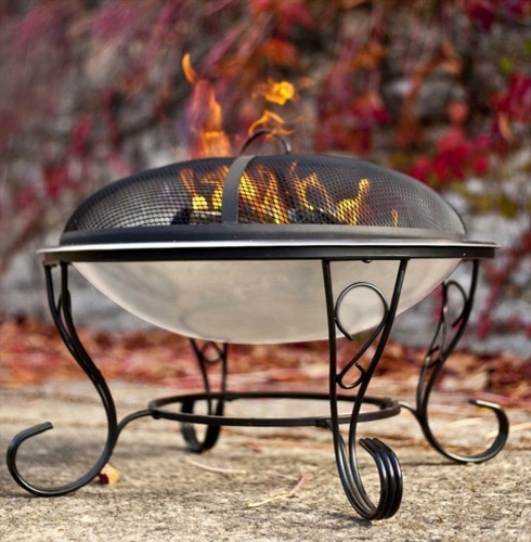Denver Stainless Steel Firebowl with Safety Cover