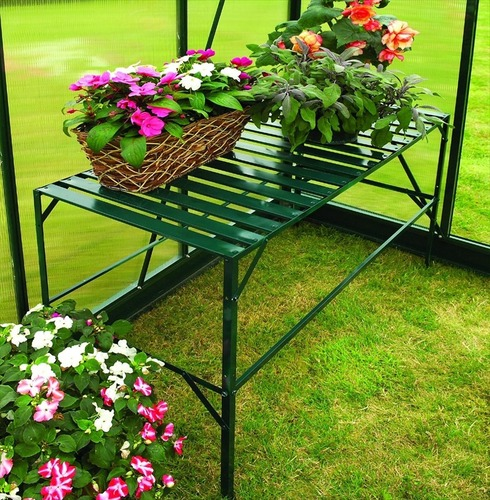 greenhouse staging one tier the garden factory. Black Bedroom Furniture Sets. Home Design Ideas