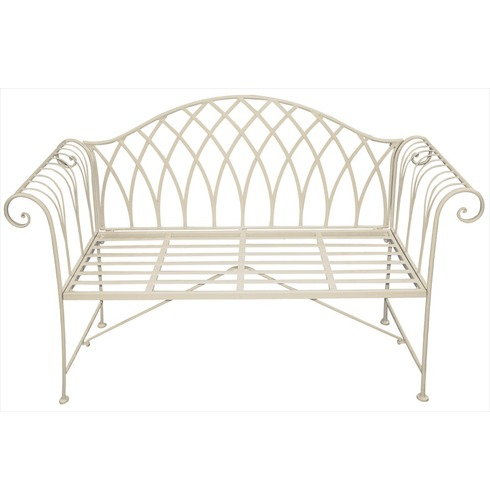 Old Rectory Scrolled Metal Garden Bench - Cream