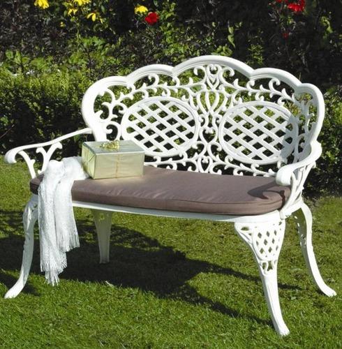 Aluminium Mississippi 'Love' Seat Bench - With Seat Pad - Cream or Bronze