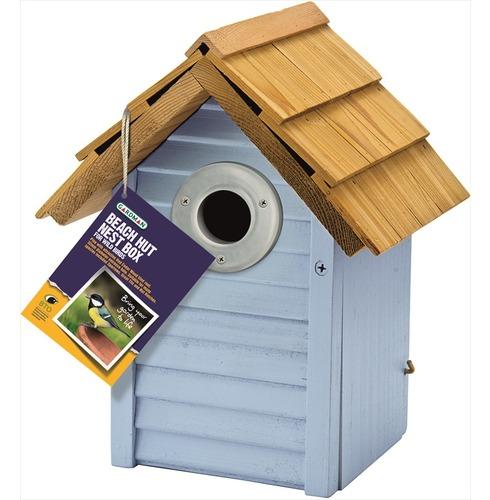 Beach Hut Nest Bird Box in Blue by Gardman