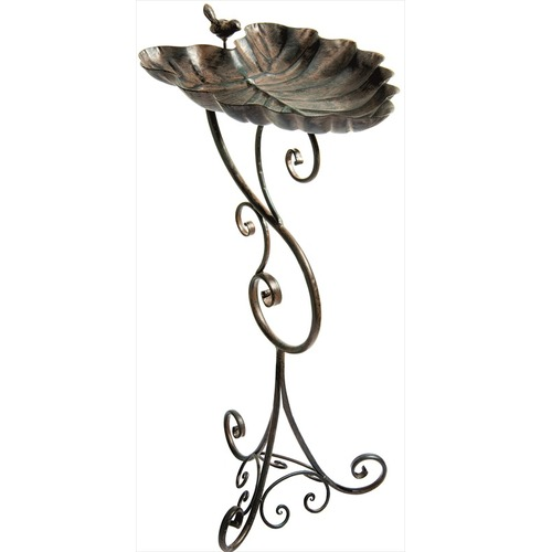 Ornate Leaf Pedestal Bird Bath by Gardman