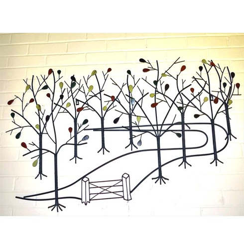 Wall Art Decoration - Up the Garden Path with coloured leaves