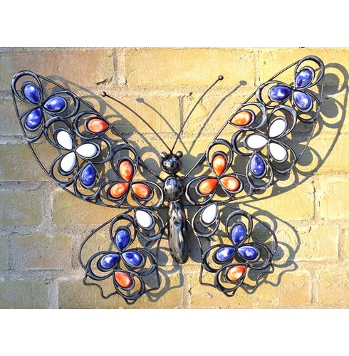 Wall Art Decoration - Butterfly with Inlaid Colours