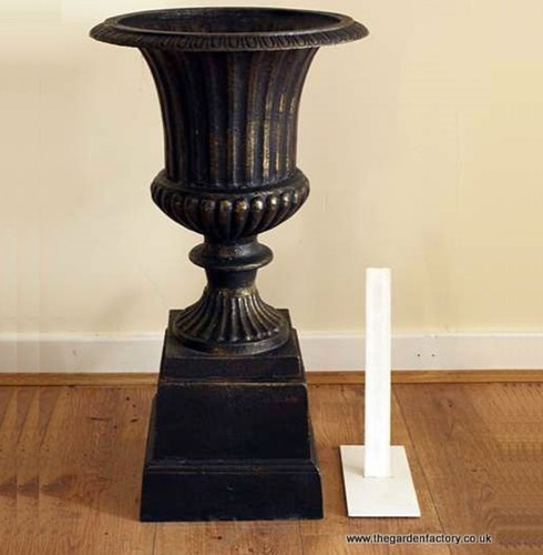 Bronze Cast Iron Garden Urn & Base - 68cm
