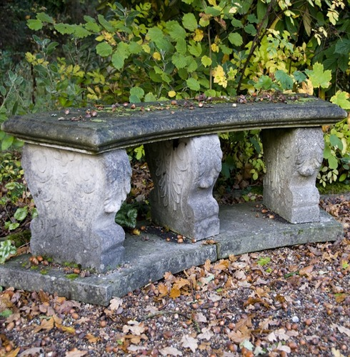 Italian Curved Bench Seat in Stone