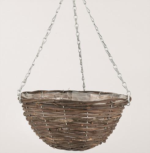 Hanging Basket in Black Rattan in a range of sizes from Gardman