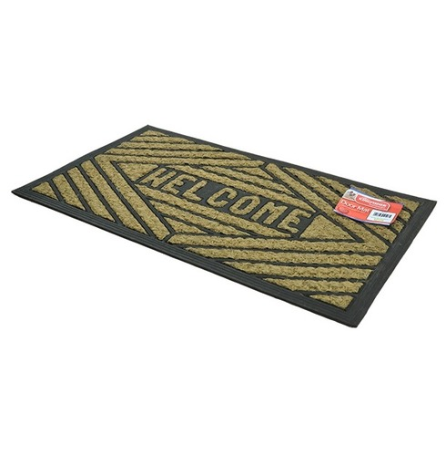 Welcome Entrance Floor Door Mat - Natural Coir & Rubber