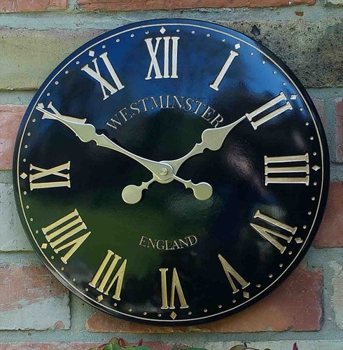 "Westminster Tower Garden Wall Clock - 15"" Black"