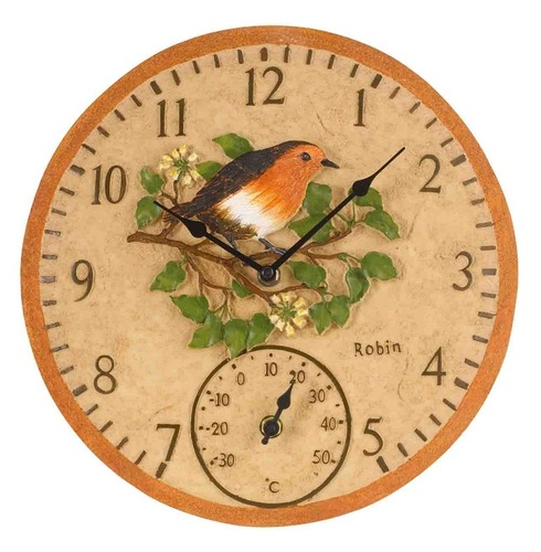 Robin Garden Outdoor Clock & Thermometer 12""