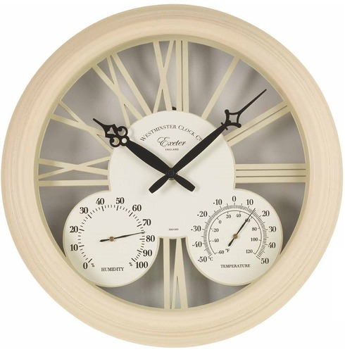 "Exeter Outside Clock, Thermometer & Humidity Meter 15"" - Cream"