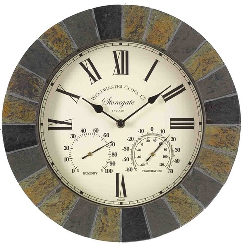 "Stonegate Wall Clock and Thermometer 14"" - Slate Effect"