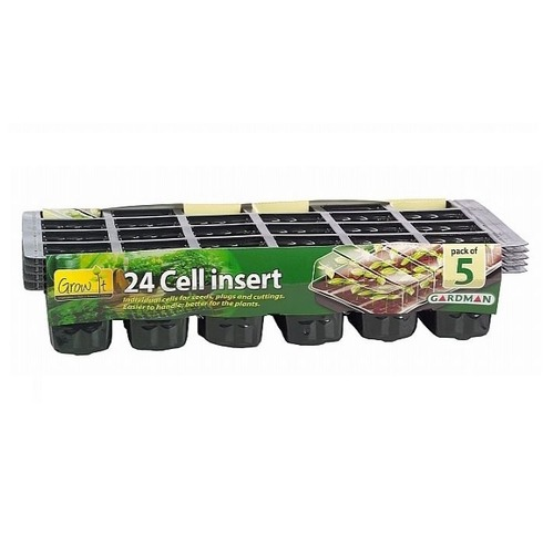Cell Insert Trays - 24 Cells - Black 5 Pack - Gardman Grow It