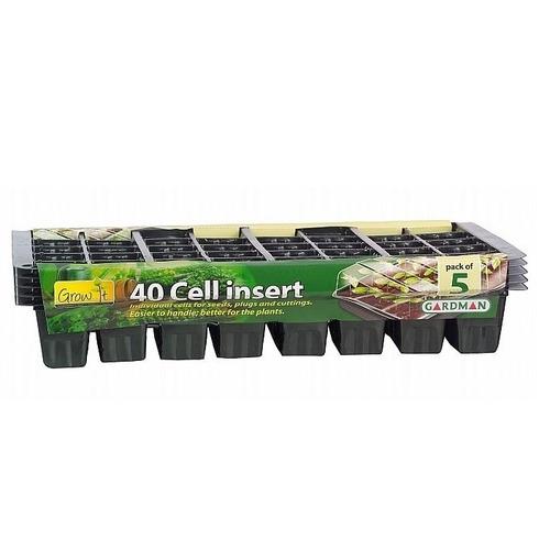 Cell Insert Trays - 40 Cells - Black 5 Pack - Gardman Grow It
