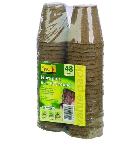 Peat Free Fibre Pots - 48 Pack - 8cm Round - Gardman Grow It
