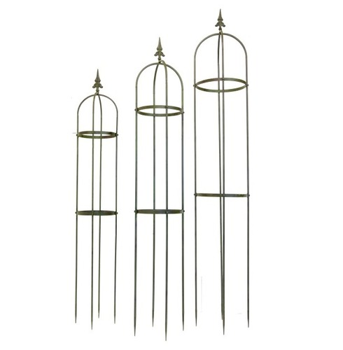 Lucton Metal Garden Obelisk Plant Support - Set of 3 - Green - Lucton Range