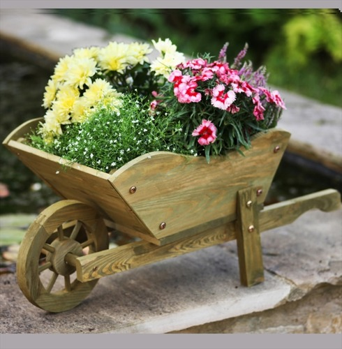 Decorative Wooden Woodland Wheelbarrow Planter